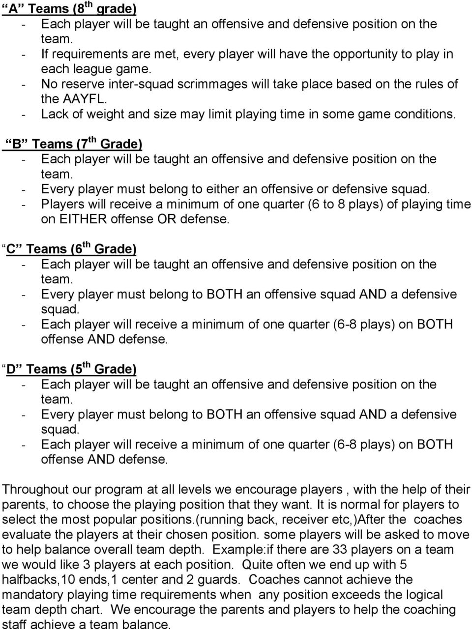 - Players will receive a minimum of one quarter (6 to 8 plays) of playing time on EITHER offense OR defense.