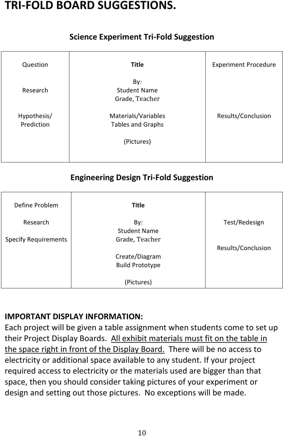 Results/Conclusion Engineering Design Tri- Fold Suggestion Define Problem Research Specify Requirements Title By: Student Name Grade, Teacher Create/Diagram Build Prototype (Pictures) Test/Redesign