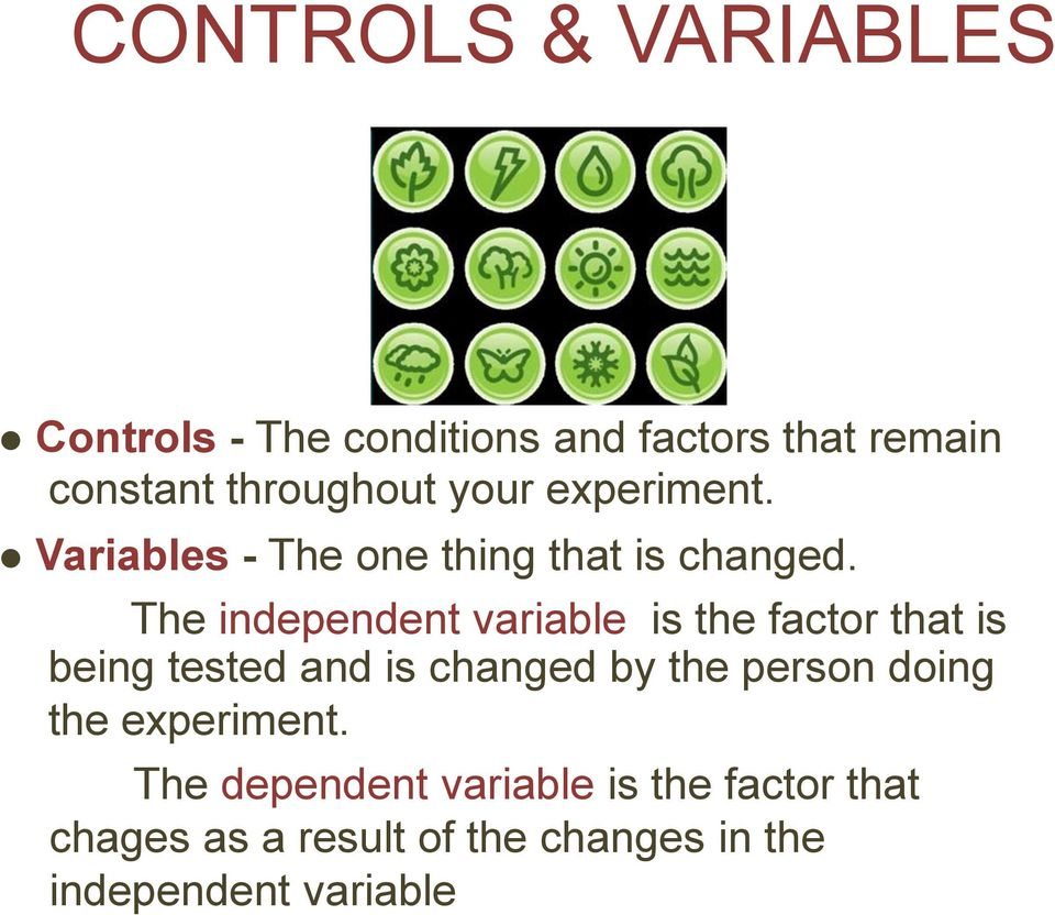 The independent variable is the factor that is being tested and is changed by the person