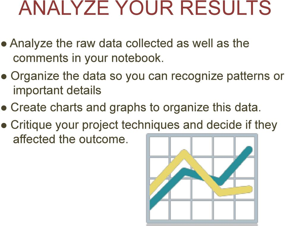 Organize the data so you can recognize patterns or important details