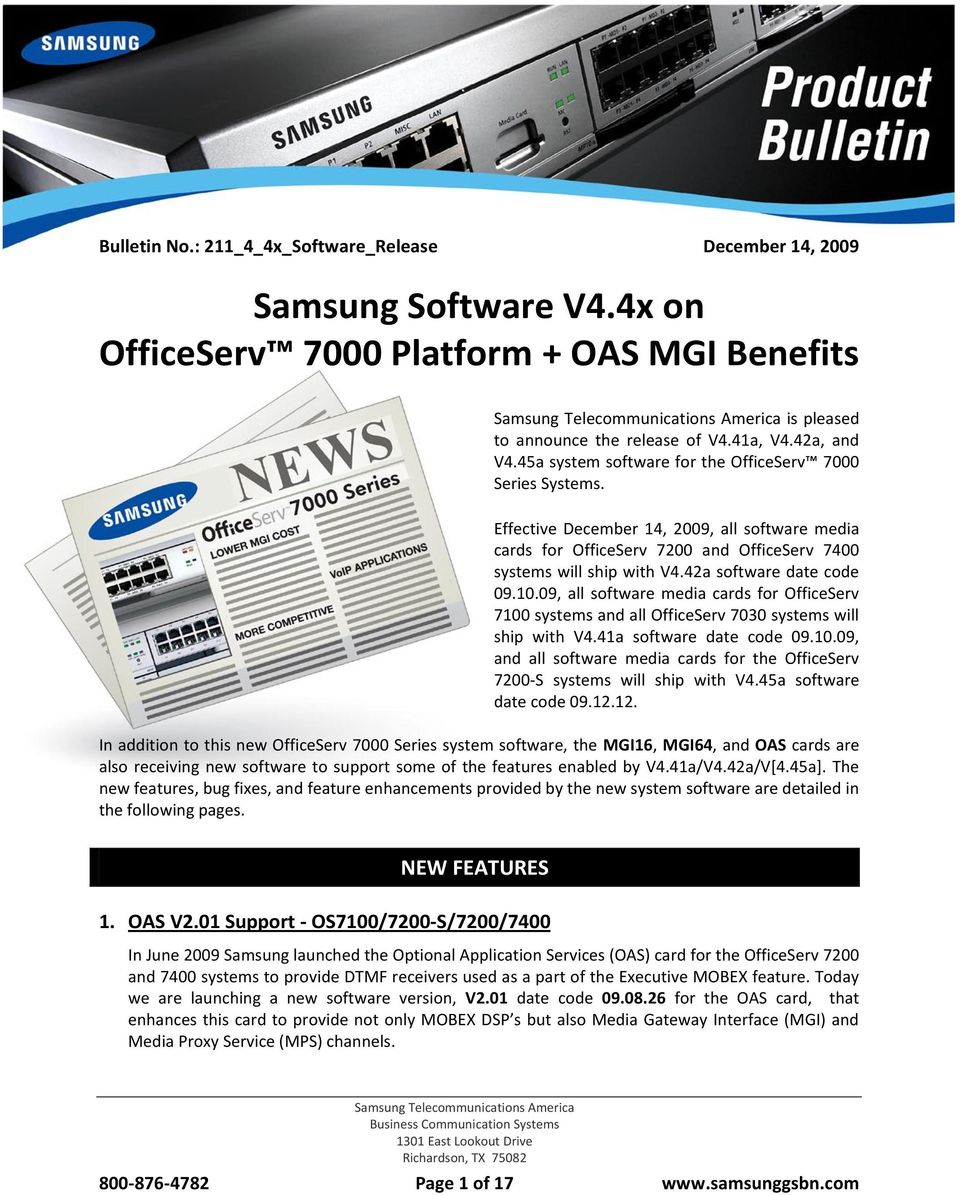 42a software date code 09.10.09, all software media cards for OfficeServ  7100 systems