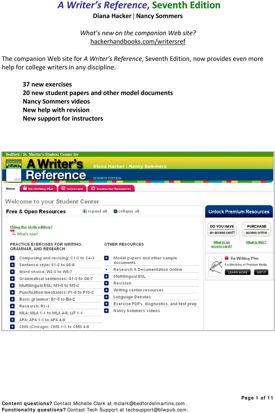 com/writersref The companion Web site for A Writer s Reference, Seventh Edition, now provides even more