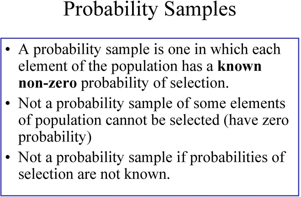 Not a probability sample of some elements of population cannot be selected