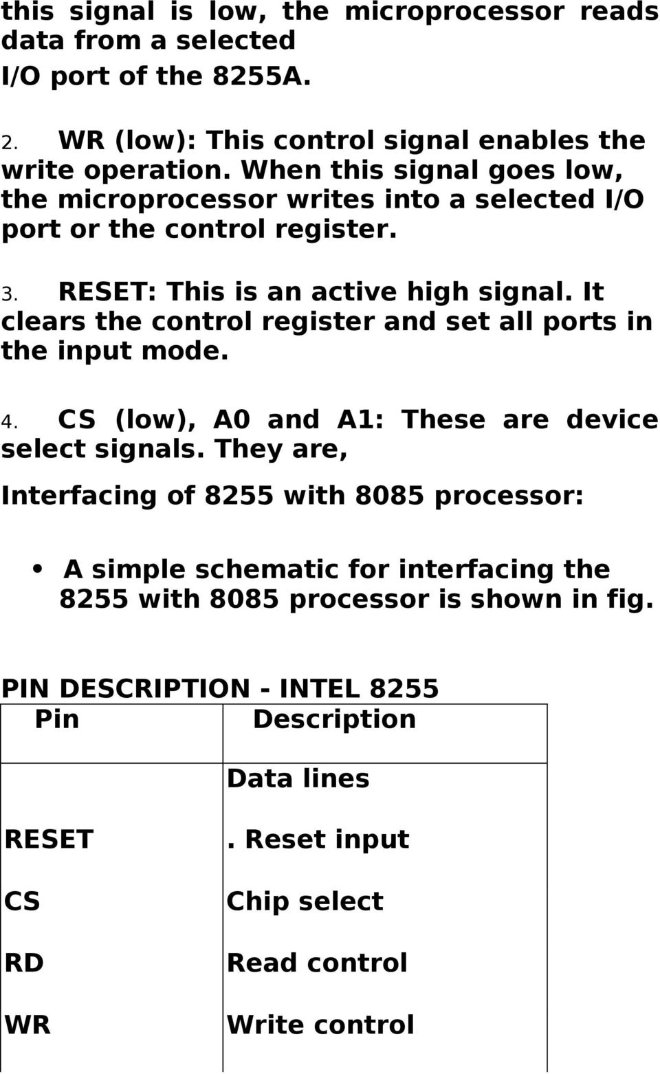 It clears the control register and set all ports in the input mode. 4. CS (low), A0 and A1: These are device select signals.