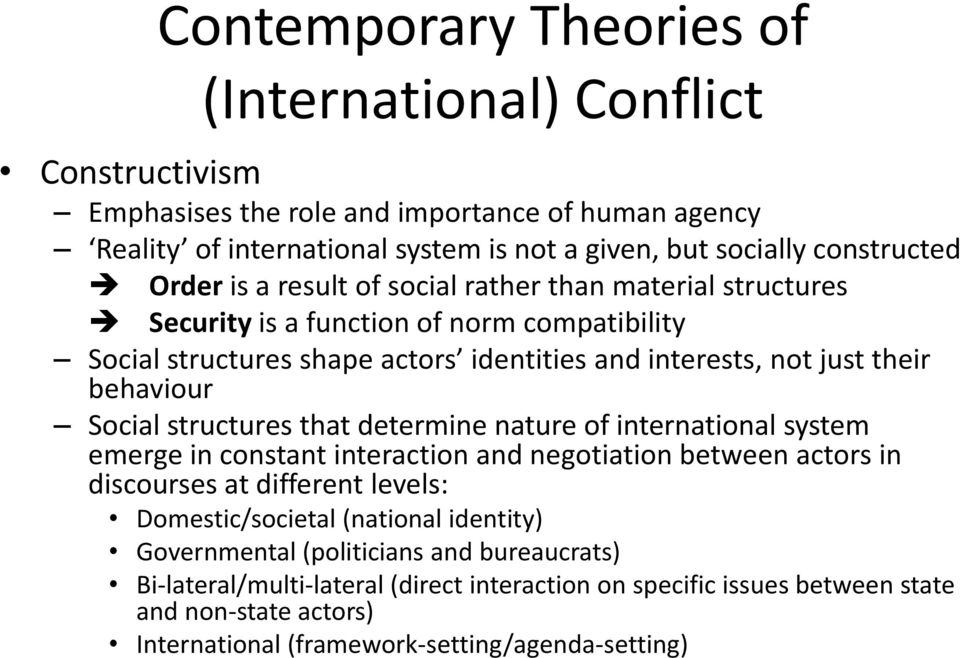 Social structures that determine nature of international system emerge in constant interaction and negotiation between actors in discourses at different levels: Domestic/societal (national