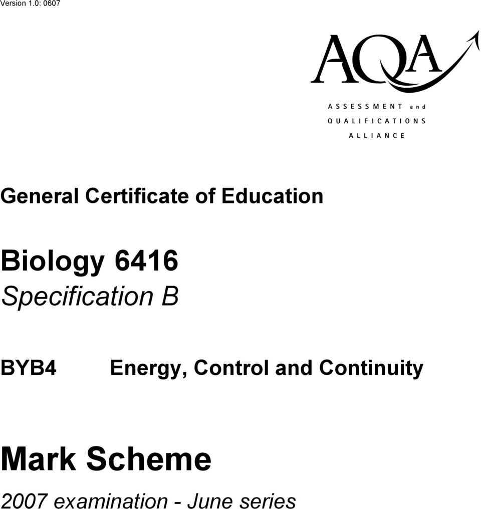 Education Biology 6416 Specification B