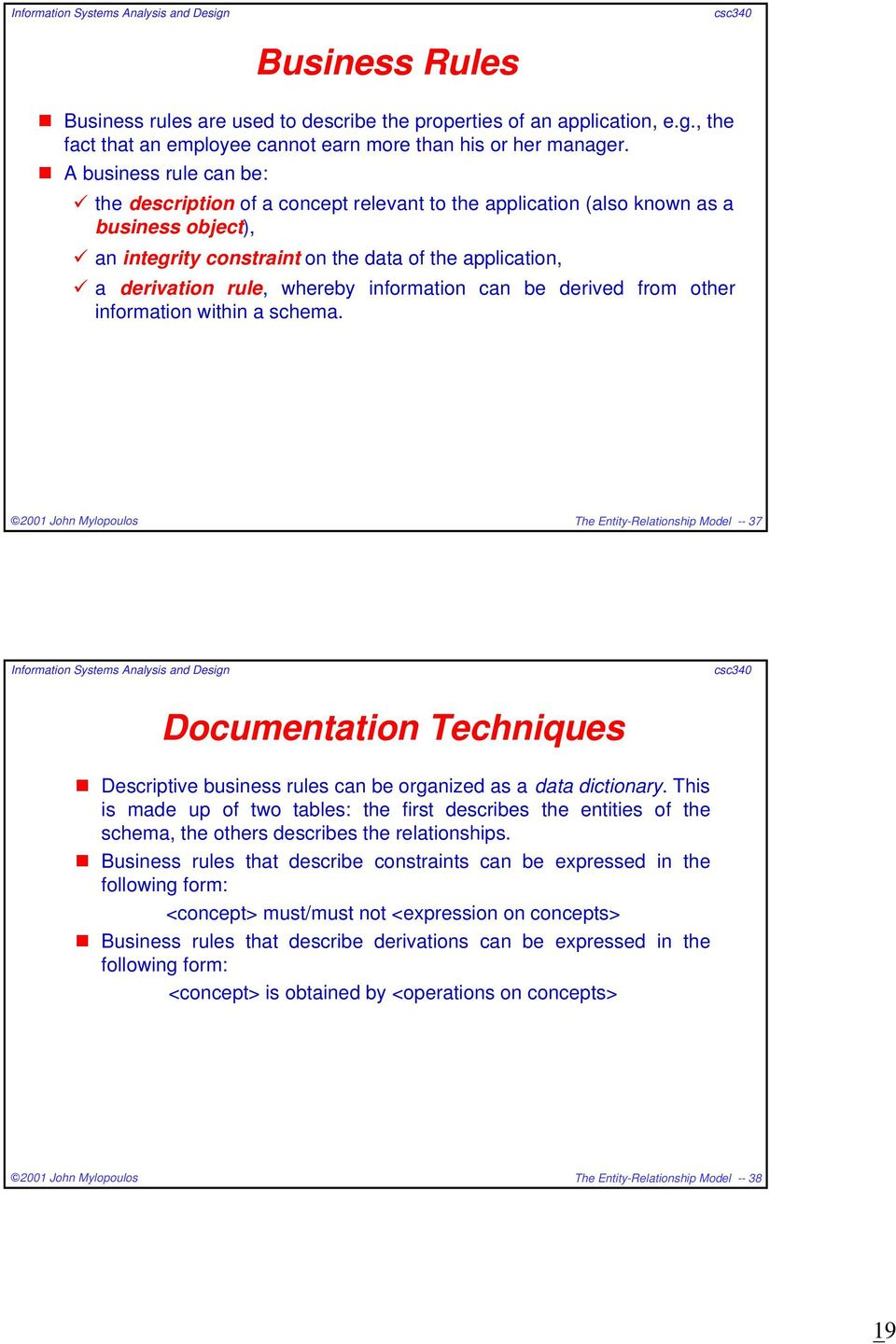 information can be derived from other information within a schema. The Entity-Relationship Model -- 37 Documentation Techniques Descriptive business rules can be organized as a data dictionary.