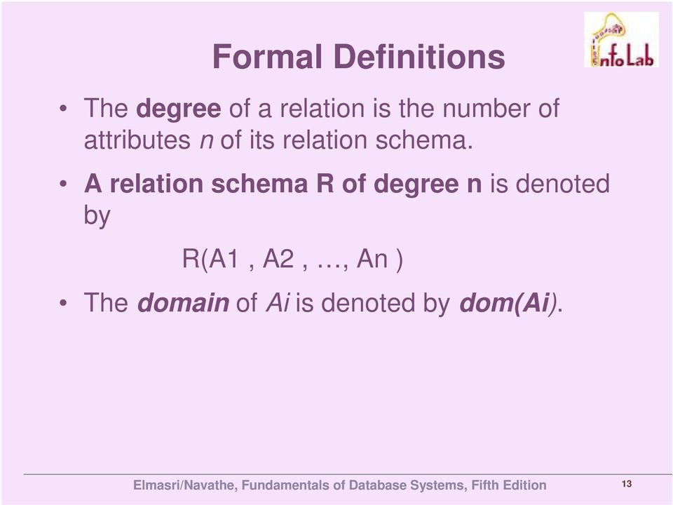 A relation schema R of degree n is denoted by