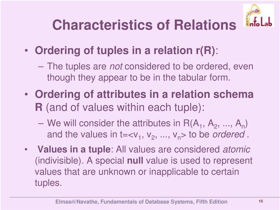 Ordering of attributes in a relation schema R (and of values within each tuple): We will consider the attributes in R(A 1, A 2,.