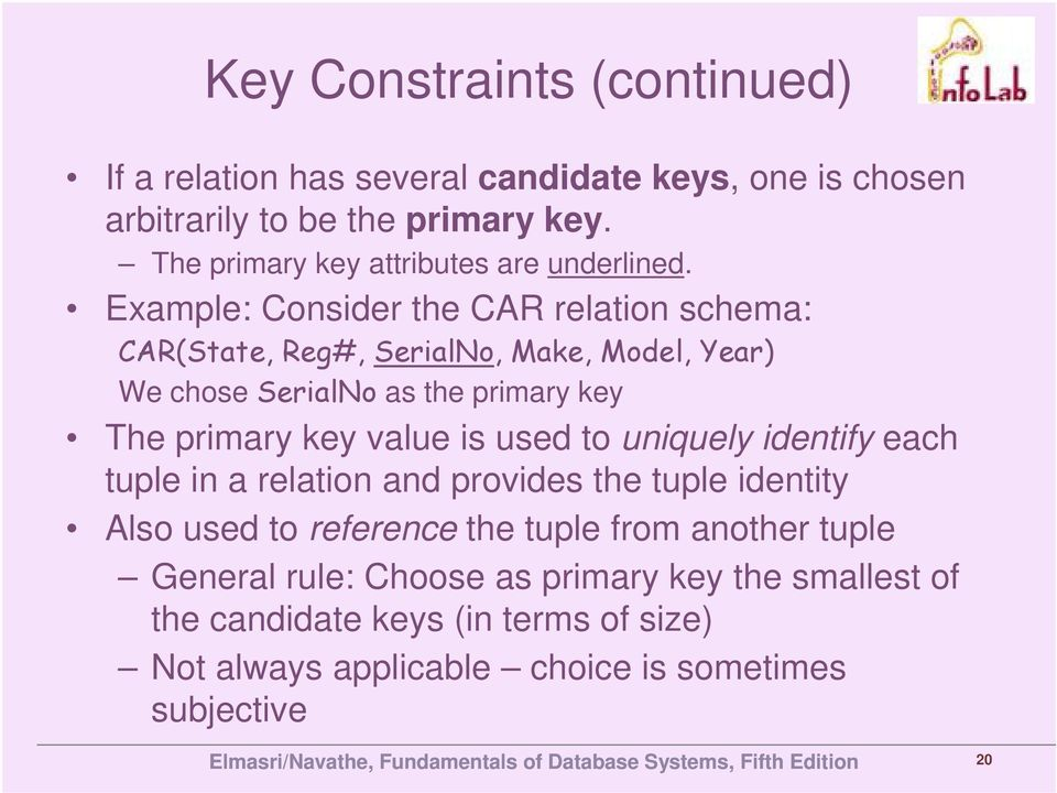 Example: Consider the CAR relation schema: CAR(State, Reg#, SerialNo, Make, Model, Year) We chose SerialNo as the primary key The primary key value