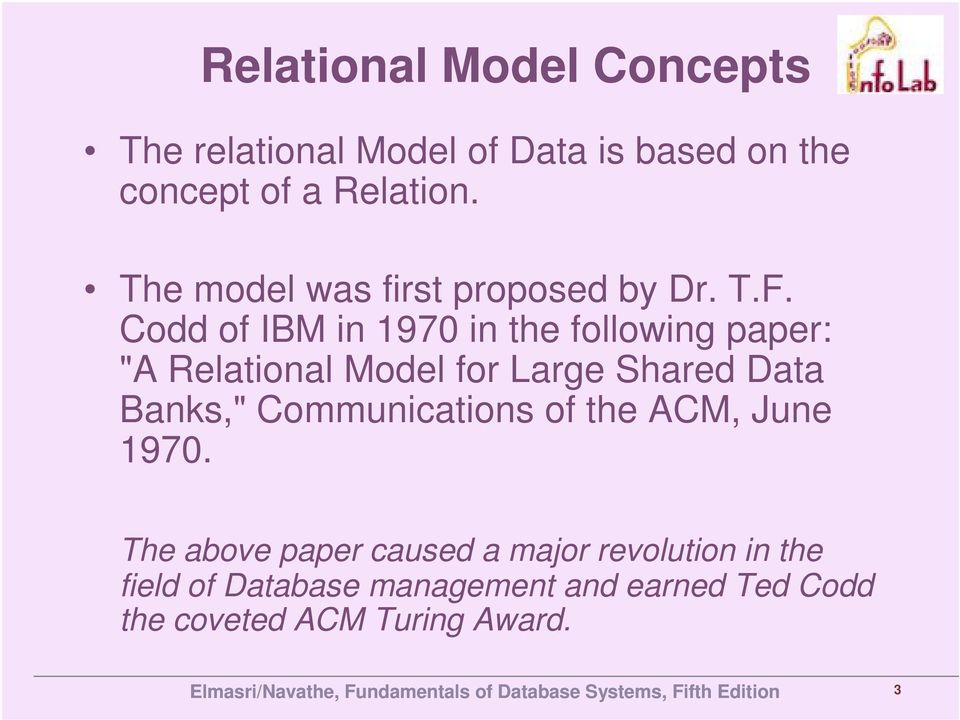 "Codd of IBM in 1970 in the following paper: ""A Relational Model for Large Shared Data Banks,"""