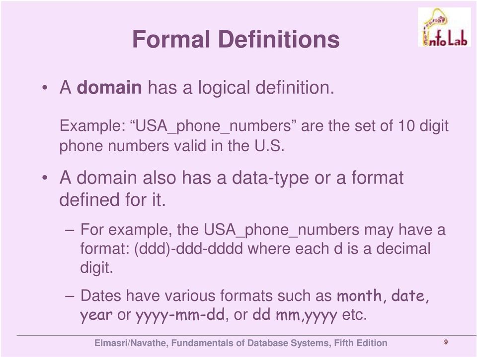 For example, the USA_phone_numbers may have a format: (ddd)-ddd-dddd where each d is a decimal
