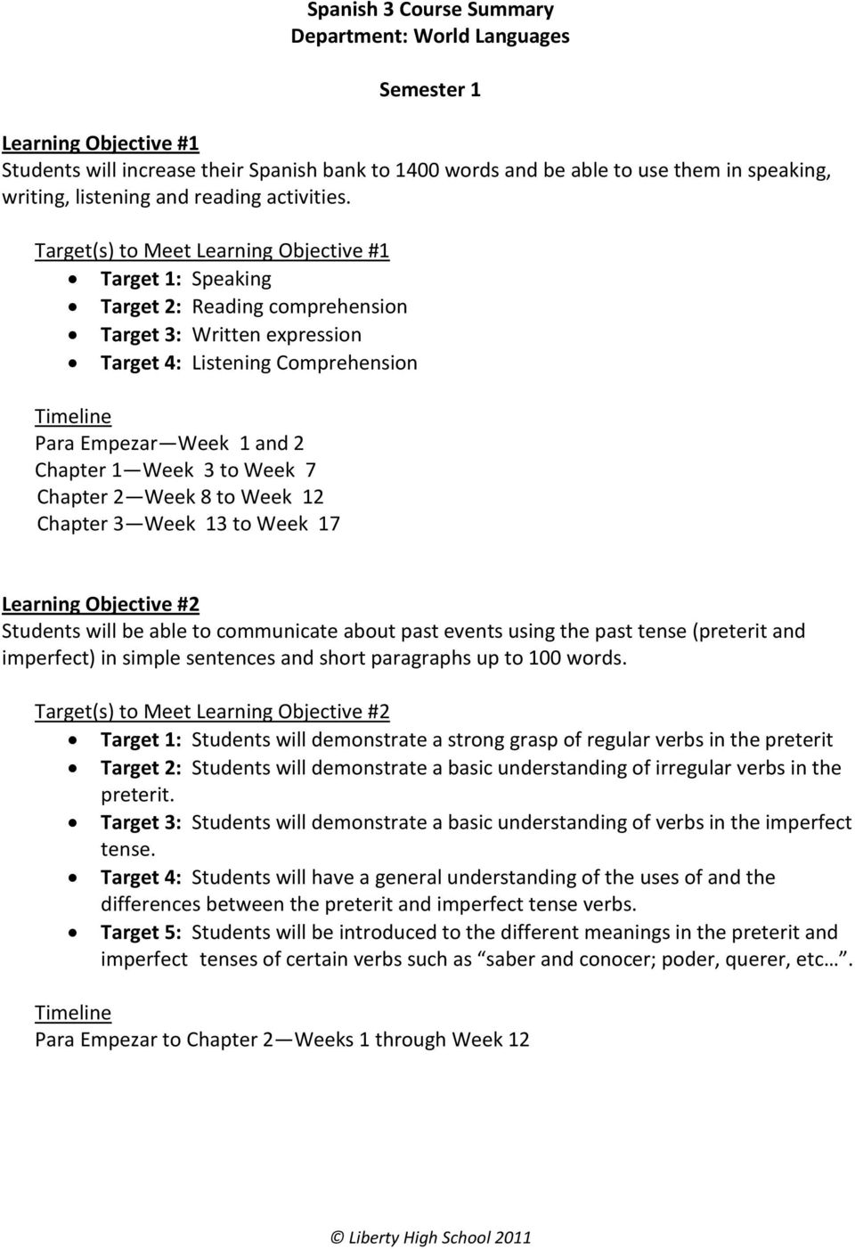 Target(s) to Meet Learning Objective #1 Target 1: Speaking Target 2: Reading comprehension Target 3: Written expression Target 4: Listening Comprehension Para Empezar Week 1 and 2 Chapter 1 Week 3 to