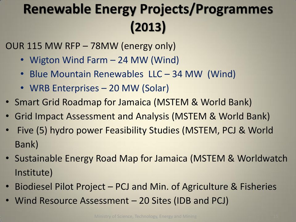 Five (5) hydro power Feasibility Studies (MSTEM, PCJ & World Bank) Sustainable Energy Road Map for Jamaica (MSTEM & Worldwatch Institute) Biodiesel