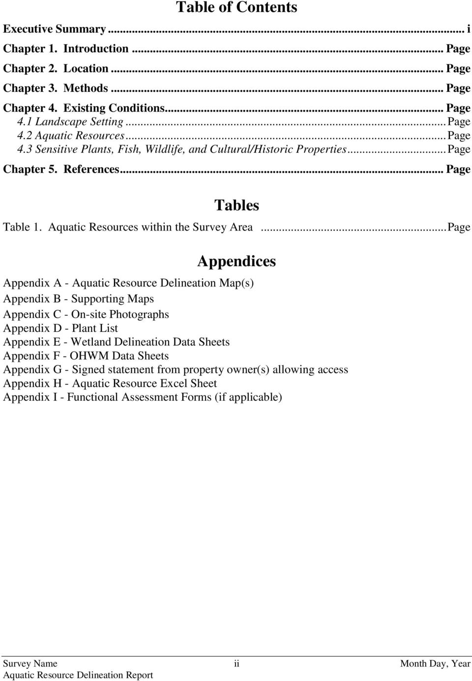 .. Page Appendices Appendix A - Aquatic Resource Delineation Map(s) Appendix B - Supporting Maps Appendix C - On-site Photographs Appendix D - Plant List Appendix E - Wetland Delineation Data Sheets