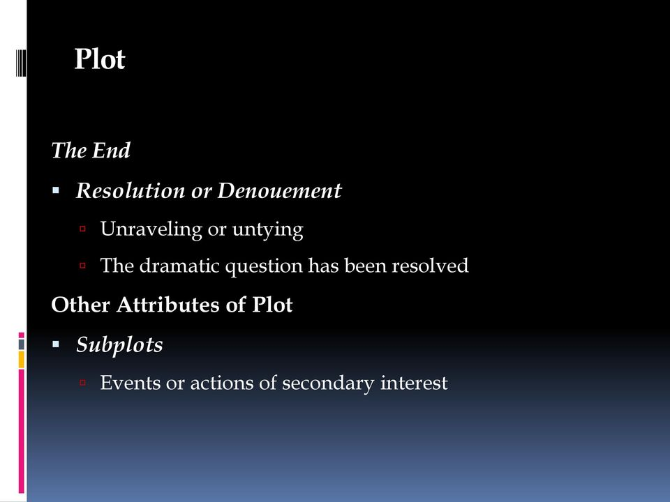has been resolved Other Attributes of Plot