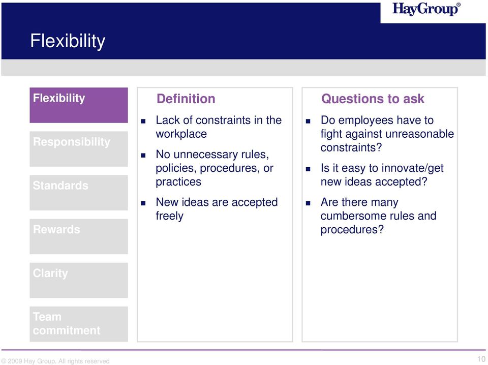 Questions to ask Do employees have to fight against unreasonable constraints?