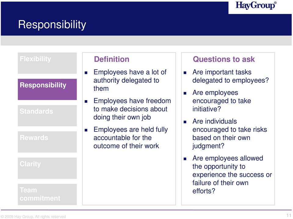 work Questions to ask Are important tasks delegated to employees? Are employees encouraged to take initiative?