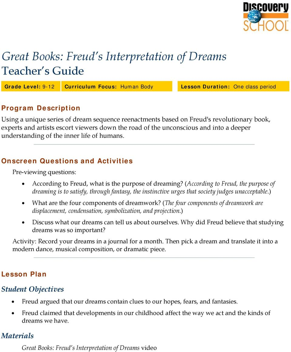 Onscreen Questions and Activities s: According to Freud, what is the purpose of dreaming?