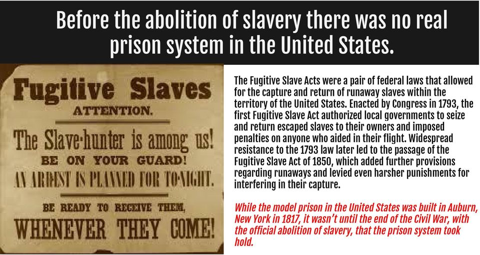 Enacted by Congress in 1793, the first Fugitive Slave Act authorized local governments to seize and return escaped slaves to their owners and imposed penalties on anyone who aided in their flight.