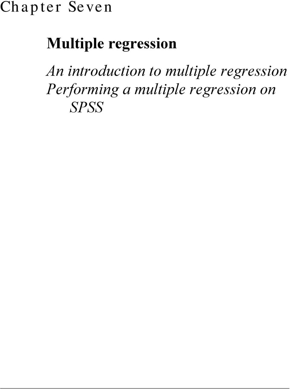 to multiple regression