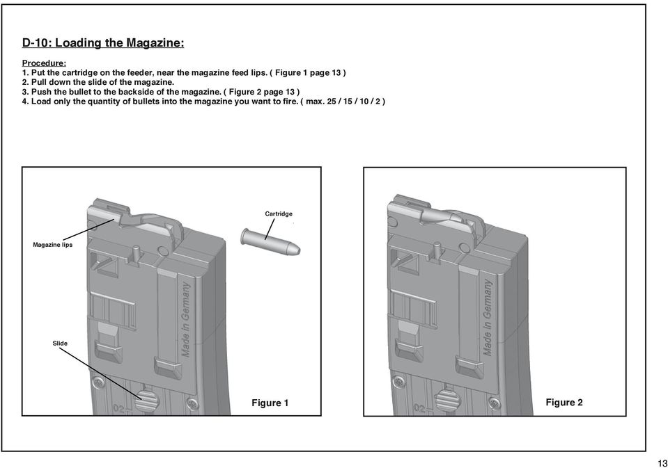 Pull down the slide of the magazine. 3. Push the bullet to the backside of the magazine.