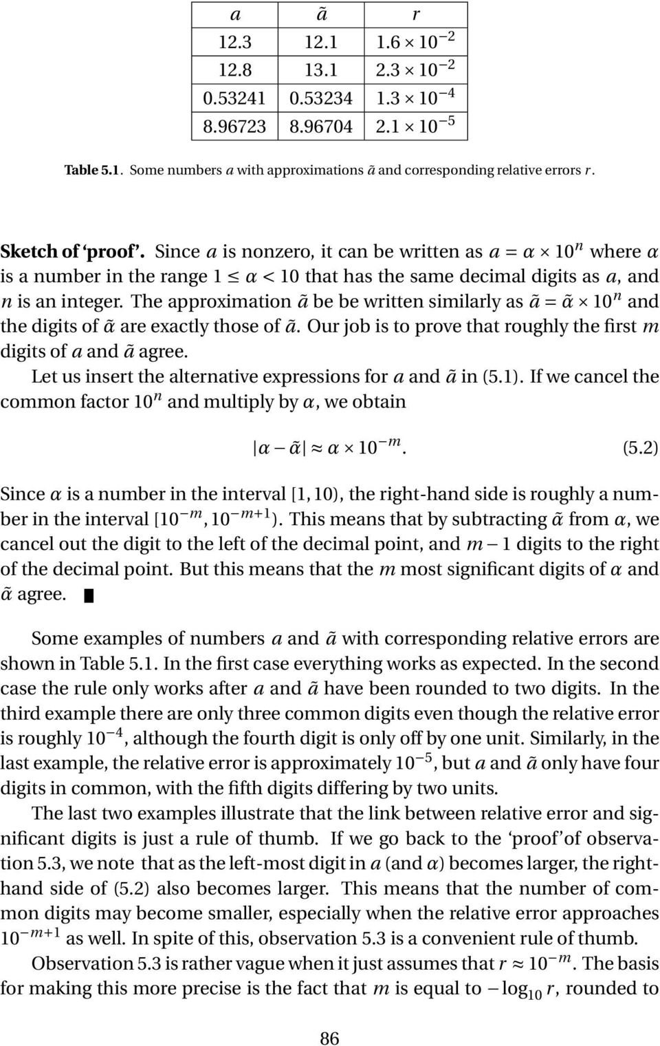 The approximation ã be be written similarly as ã = α 10 n and the digits of α are exactly those of ã. Our job is to prove that roughly the first m digits of a and ã agree.