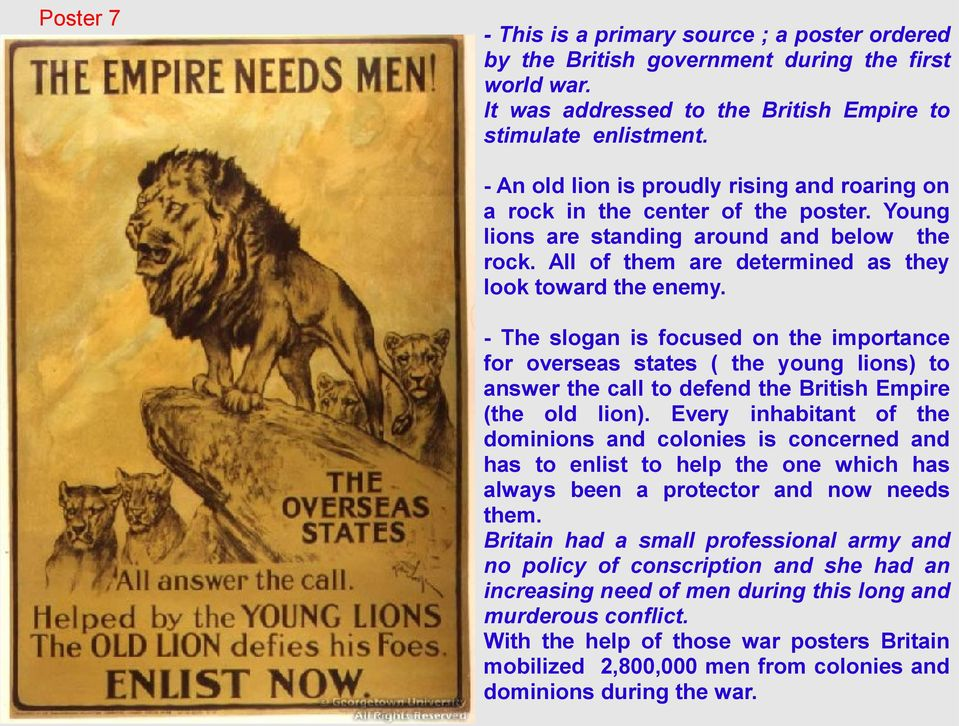 - The slogan is focused on the importance for overseas states ( the young lions) to answer the call to defend the British Empire (the old lion).
