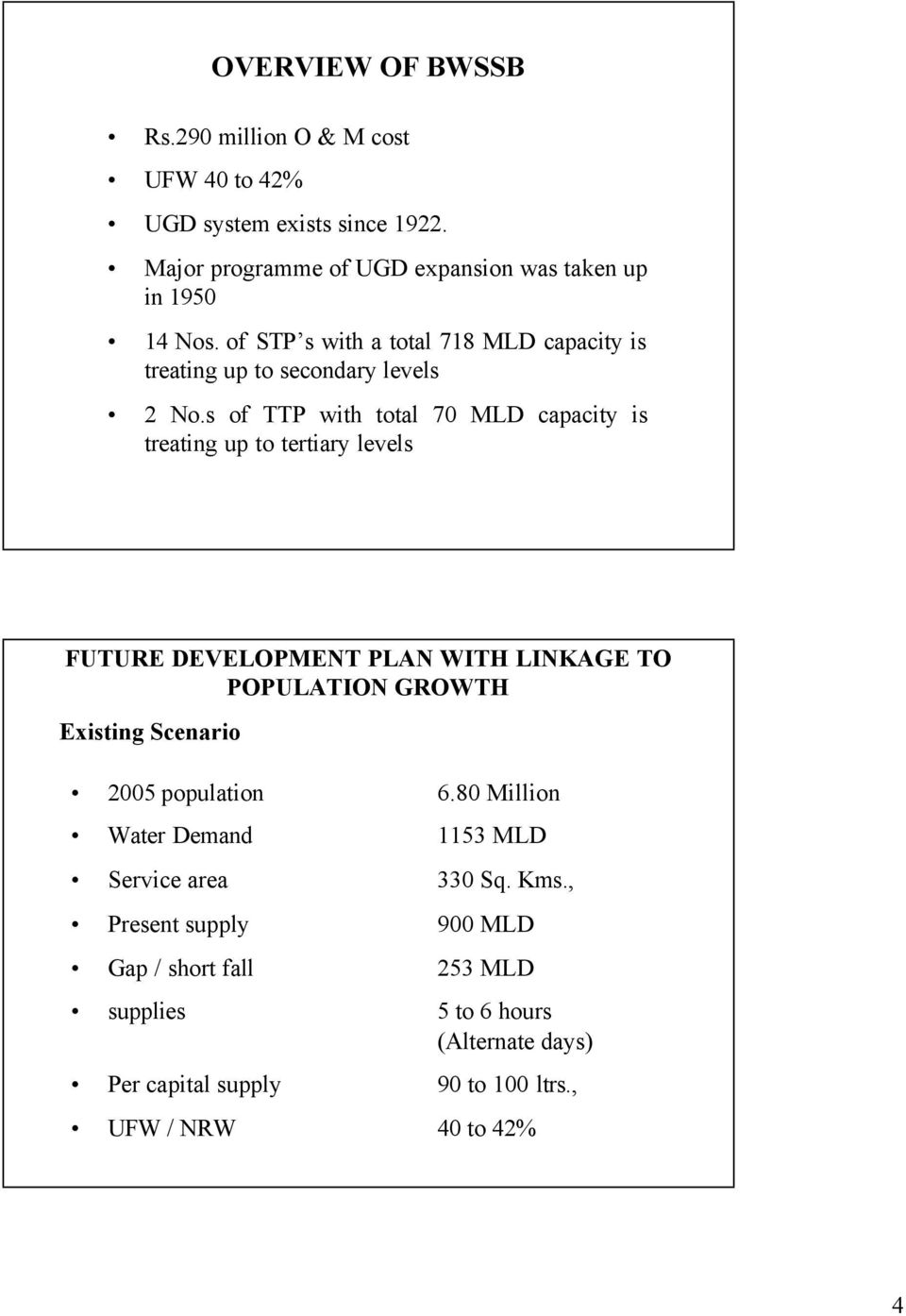 s of TTP with total 70 MLD capacity is treating up to tertiary levels FUTURE DEVELOPMENT PLAN WITH LINKAGE TO POPULATION GROWTH Existing Scenario