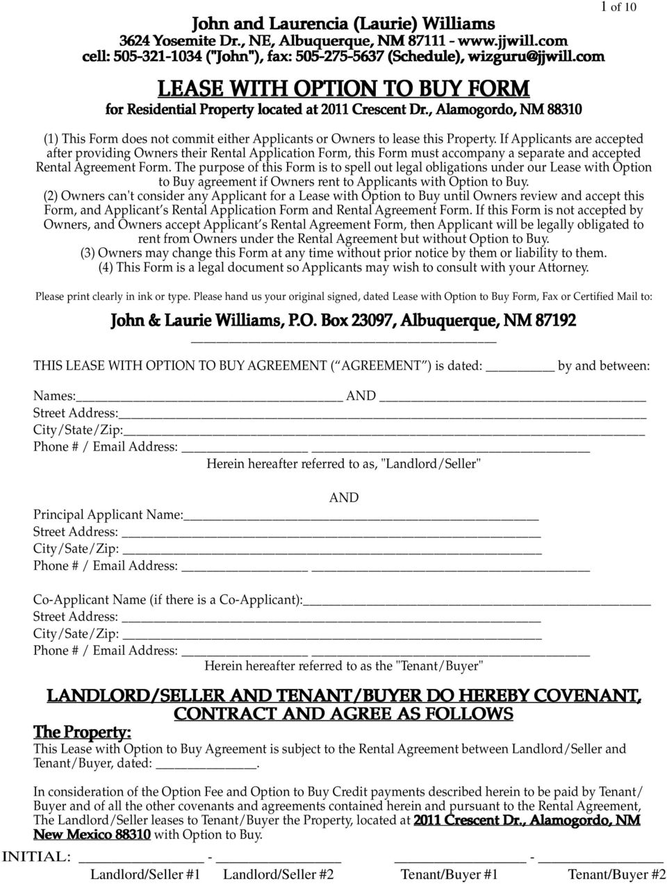 , Alamogordo, NM 88310 1 of 10 (1) This Form does not commit either Applicants or Owners to lease this Property.