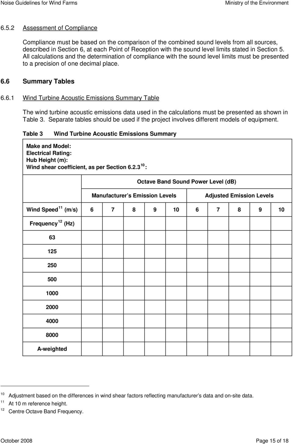 6 Summary Tables 6.6.1 Wind Acoustic Emissions Summary Table The wind turbine acoustic emissions data used in the calculations must be presented as shown in Table 3.