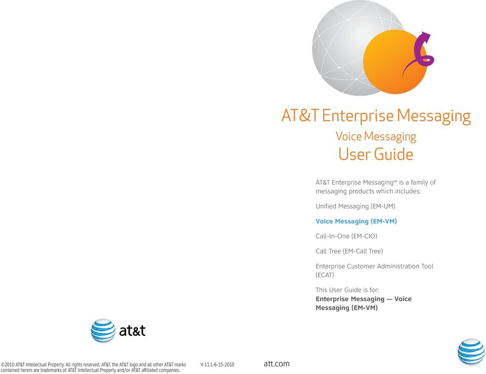 (ECAT) This User Guide is for: Enterprise Messaging Voice Messaging (EM-VM) 00 AT&T Intellectual Property. All rights reserved.