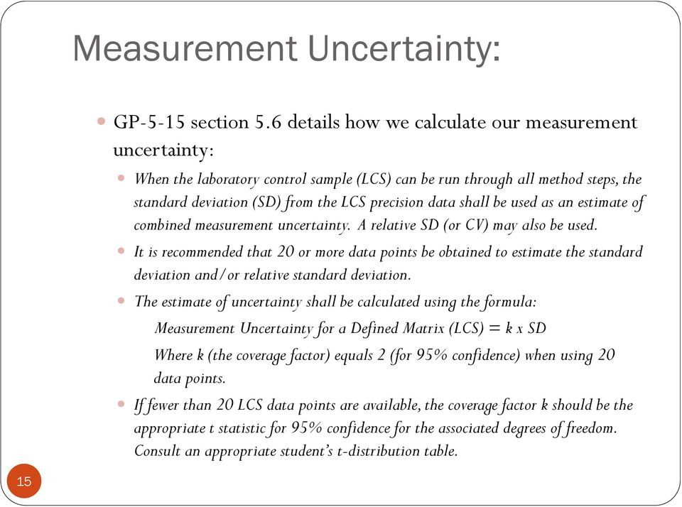 used as an estimate of combined measurement uncertainty. A relative SD (or CV) may also be used.