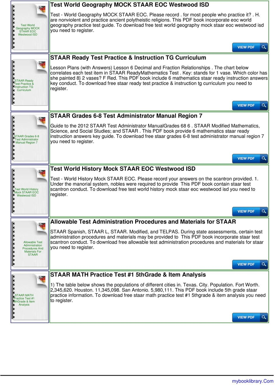 To download free test world geography mock staar eoc westwood isd you need to STAAR Ready Test Practice & Instruction TG Curriculum STAAR Ready Test Practice & Instruction TG Curriculum Lesson Plans