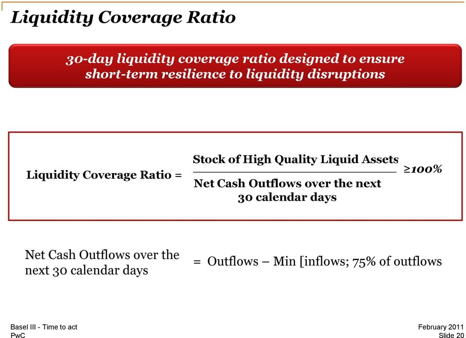 Liquidity Coverage Ratio = Net Cash Outflows over the next 30 calendar days 100% Net