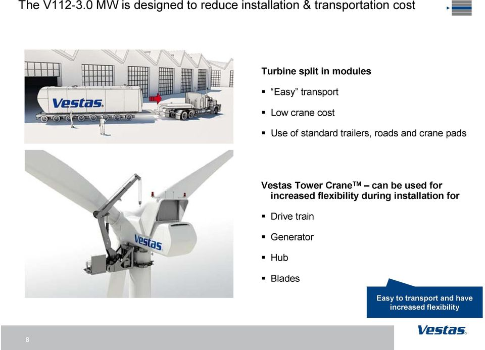 modules Easy transport Low crane cost Use of standard trailers, roads and crane pads