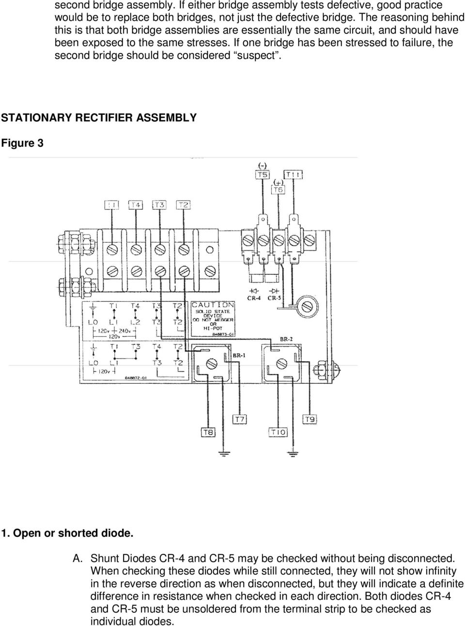 If one bridge has been stressed to failure, the second bridge should be considered suspect. STATIONARY RECTIFIER ASSEMBLY Figure 3 1. Open or shorted diode. A. Shunt Diodes CR-4 and CR-5 may be checked without being disconnected.