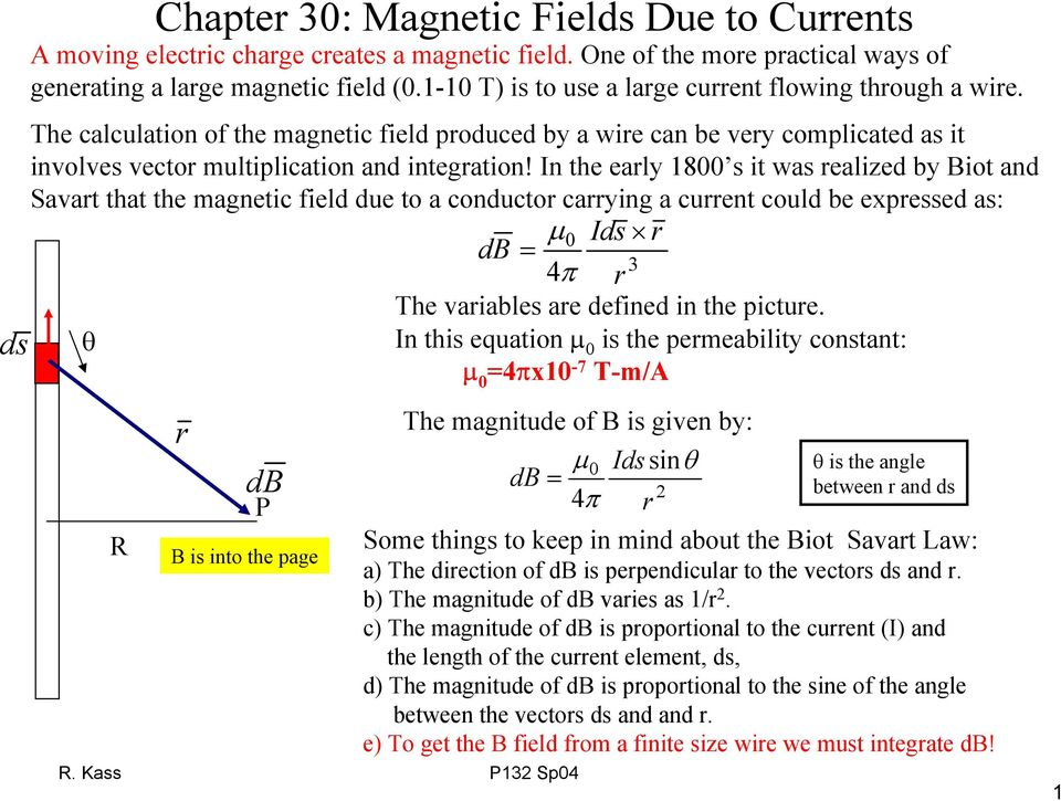 n the ealy 18 it wa ealized by iot and Savat that the magnetic field due to a conducto caying a cuent could be expeed a: d d 3 The vaiable ae defined in the pictue.