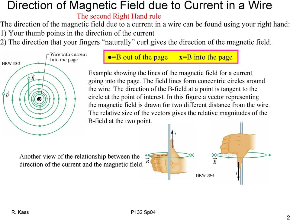 HW 3- out of the page x into the page Example howing the line of the magnetic field fo a cuent going into the page. The field line fom concentic cicle aound the wie.