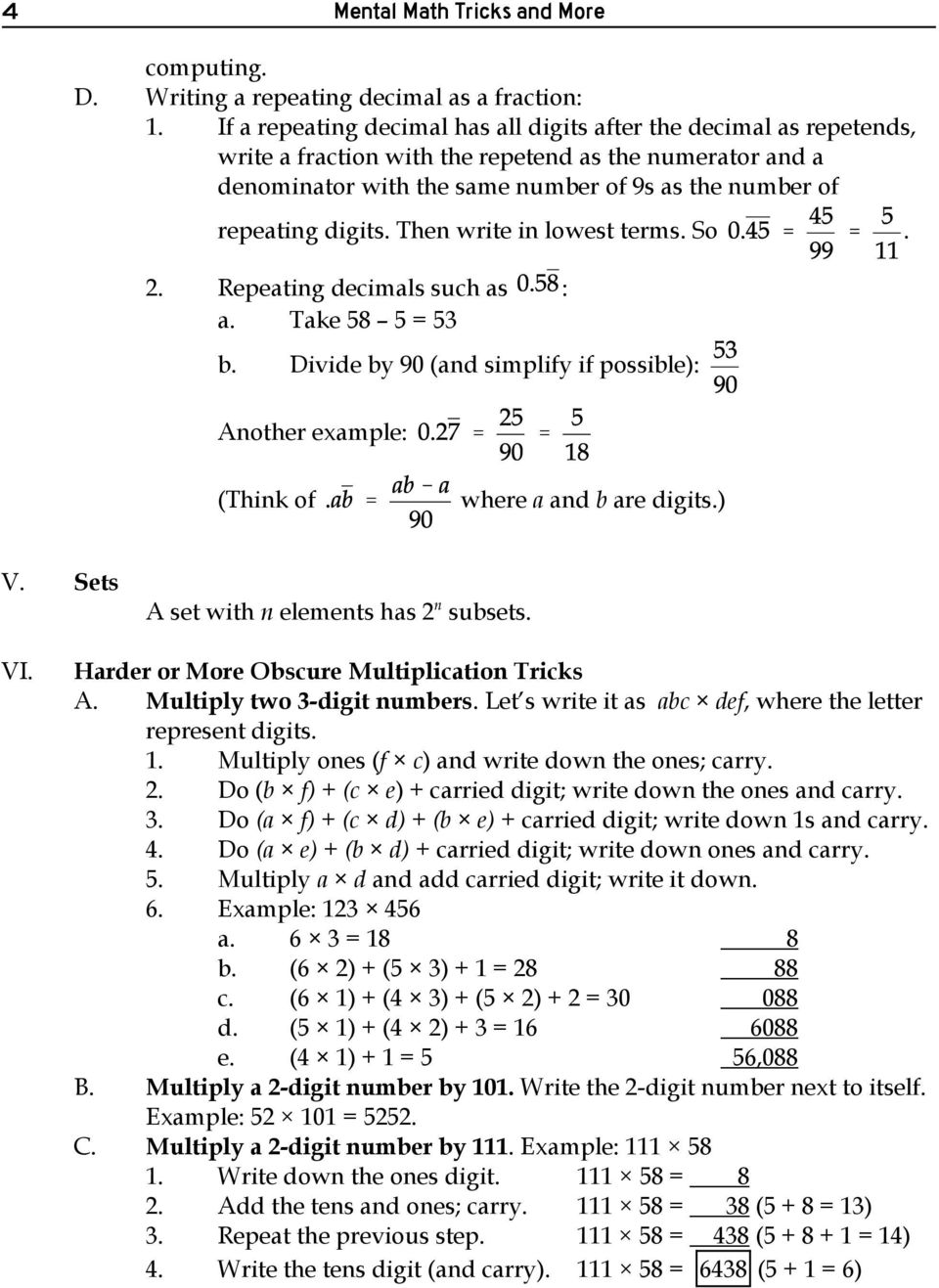 Mental math tricks and more pdf digits then write in lowest terms so 2 repeating decimals such as fandeluxe Images