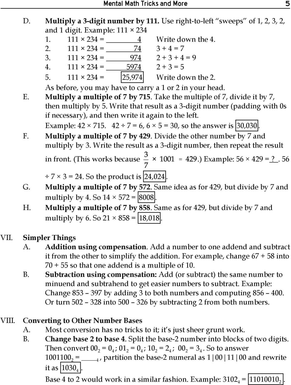 Mental math tricks and more pdf take the multiple of 7 divide it by 7 then multiply by 5 fandeluxe Images