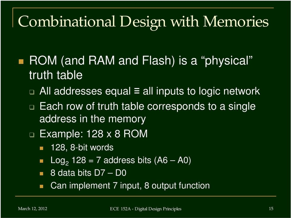 address in the memory Example: 128 x 8 ROM 128, 8-bit words Log 2 128 = 7 address bits (A6 A) 8