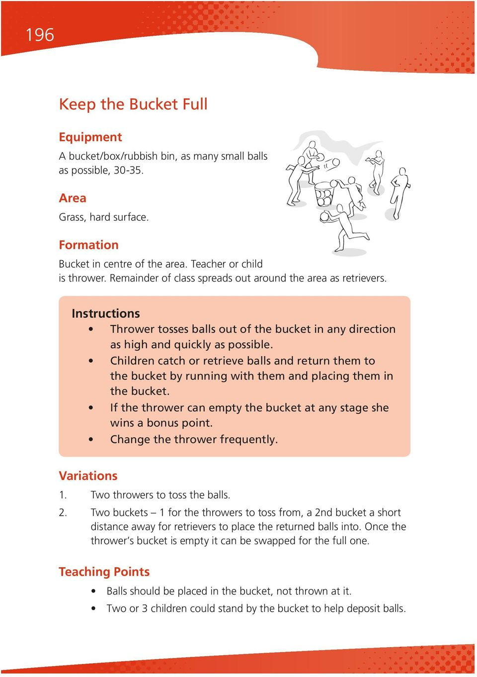 Children catch or retrieve balls and return them to the bucket by running with them and placing them in the bucket. If the thrower can empty the bucket at any stage she wins a bonus point.