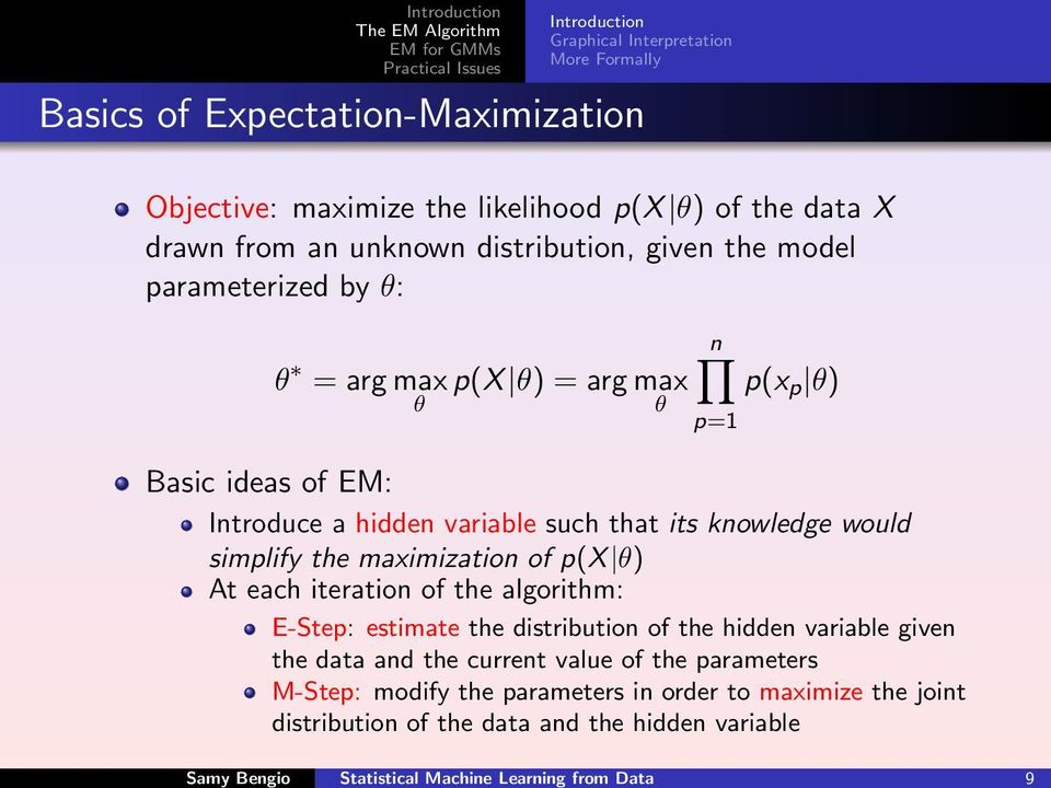 simplify the maximization of p(x θ) At each iteration of the algorithm: E-Step: estimate the distribution of the hidden variable given the data and the current value of