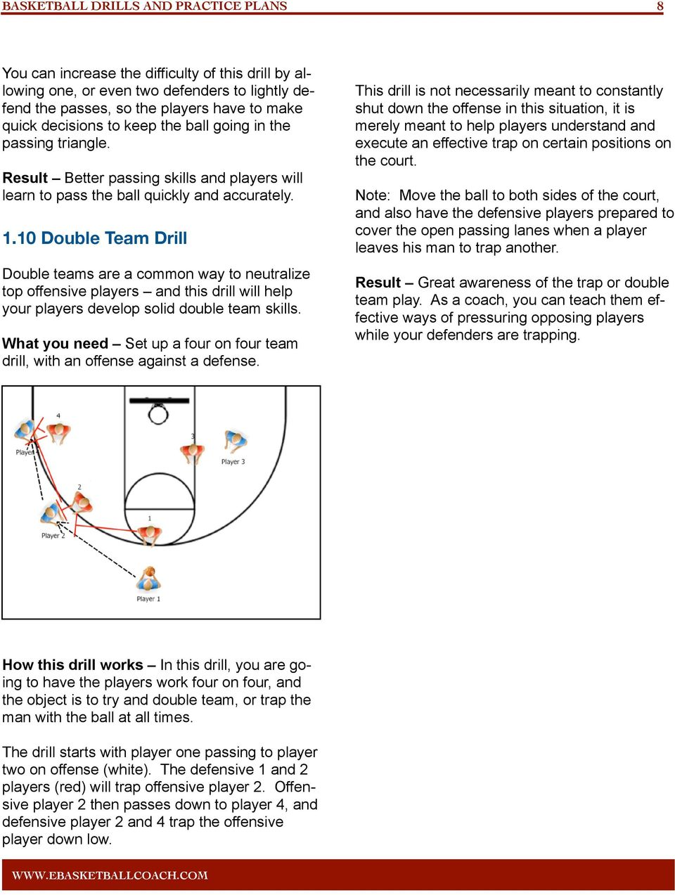 10 Double Team Drill Double teams are a common way to neutralize top offensive players and this drill will help your players develop solid double team skills.