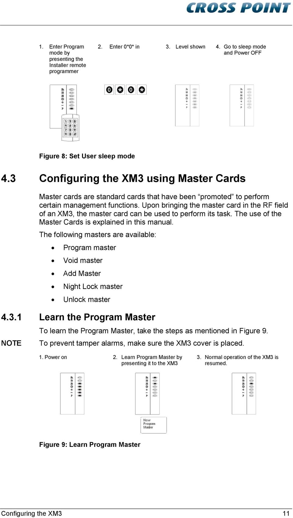 Upon bringing the master card in the RF field of an XM3, the master card can be used to perform its task. The use of the Master Cards is explained in this manual.