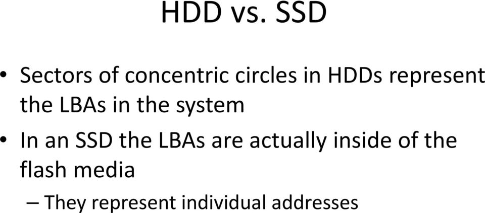represent the LBAs in the system In an SSD