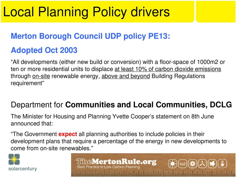 Statement Local Communities, 22-2004 DCLG The Section Minister 8 Local for Housing planning and authorities Planning may Yvette include Cooper s policies statement in local on 8th June announced