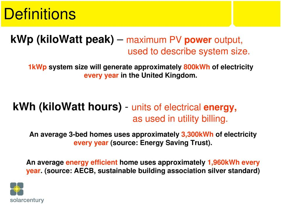 kwh (kilowatt hours) - units of electrical energy, as used in utility billing.