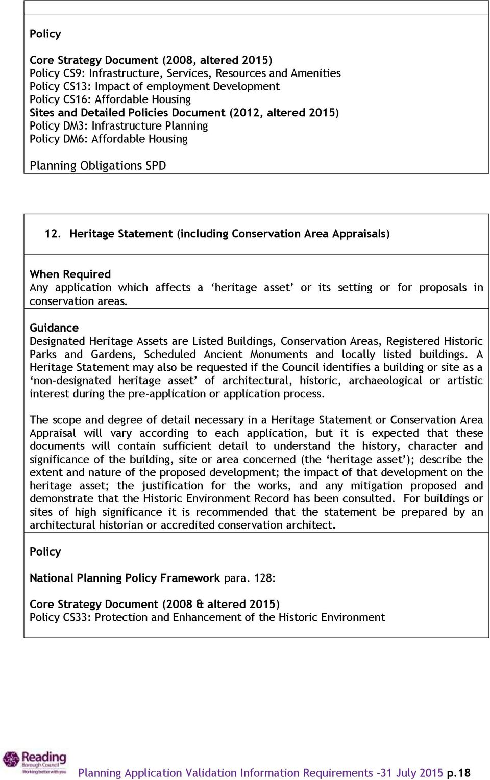 Heritage Statement (including Conservation Area Appraisals) When Required Any application which affects a heritage asset or its setting or for proposals in conservation areas.
